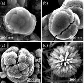 SEM micrographs of rutile phase TiO2 nanrods. (a) TiO2-0.25, (b) TiO2-0.50, (c) TiO2-0.75 and (d) TiO2-1.0.