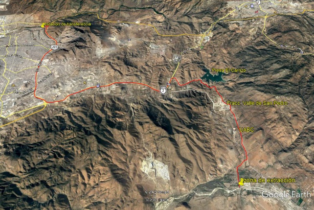 Sand transportation route from the Las Palmas stream to the transfer center in the Alamar stream, Tijuana, B.C. Aerial image from Google Earth.