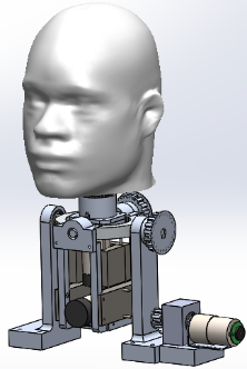 Assembly of the mechanical structure coupled with the head of the humanoid robot