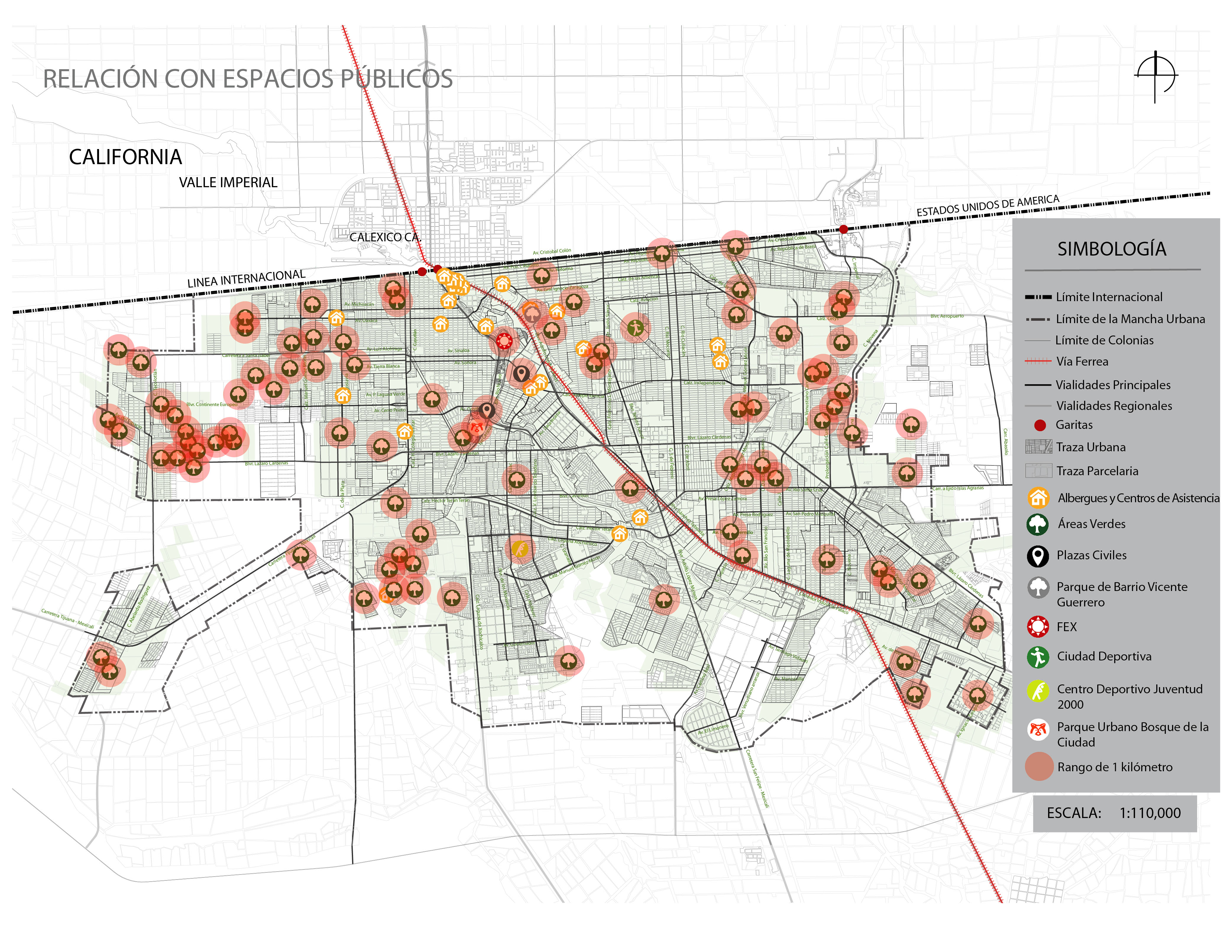 Relationship between the equipment aimed at the migrant population and the recreational spaces in the city of Mexicali. Source: own authorship, 2021